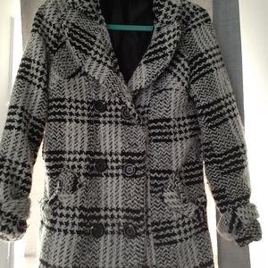 Women's plaid collar pea coat